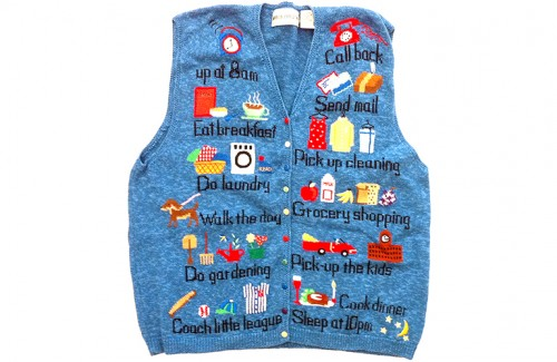 """Busy Mom's To-Do List"" Tacky Ugly Sweater Vest Women's Size XL"